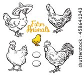 set of different chickens ... | Shutterstock .eps vector #458641243