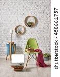 modern white brick wall...   Shutterstock . vector #458661757