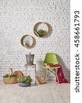 modern white brick wall...   Shutterstock . vector #458661793