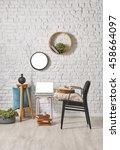 modern black chair and brick... | Shutterstock . vector #458664097