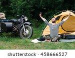 happy man taking sunbath in... | Shutterstock . vector #458666527