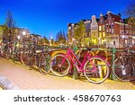 bicycle parked on a bridge in... | Shutterstock . vector #458670763