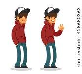 smiling teenager in hoodie and... | Shutterstock .eps vector #458680363