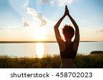silhouette of sportive girl... | Shutterstock . vector #458702023