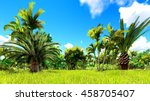 tropical jungle 3d illustration | Shutterstock . vector #458705407