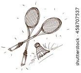 badminton logo. sport  hobbies  ... | Shutterstock .eps vector #458707537