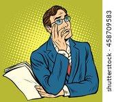 man the thinker pose pop art... | Shutterstock .eps vector #458709583