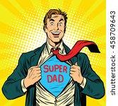 super dad hero with a joyful... | Shutterstock .eps vector #458709643