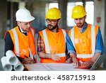 discussing sketch of new... | Shutterstock . vector #458715913