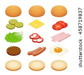 burger ingredients on white... | Shutterstock . vector #458719837