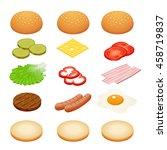 burger ingredients on white...   Shutterstock . vector #458719837