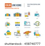 color thin line icons set.... | Shutterstock .eps vector #458740777
