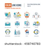 color thin line icons set. e... | Shutterstock .eps vector #458740783