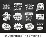 vector set of vintage back to... | Shutterstock .eps vector #458745457