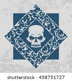 skull graffiti stencil with...