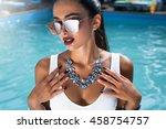closeup portrait of fashion... | Shutterstock . vector #458754757