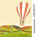 cartoon kids inside a hot air... | Shutterstock .eps vector #458790727
