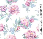 seamless floral pattern with... | Shutterstock . vector #458801713