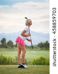 blonde female golfer holding... | Shutterstock . vector #458859703
