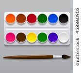 Watercolor Paints In A Box Wit...