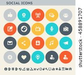 social icon set. multicolored... | Shutterstock .eps vector #458891707