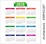 year 2018 calendar isolated on...   Shutterstock .eps vector #458952187