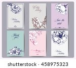 set vintage card with blooming... | Shutterstock .eps vector #458975323
