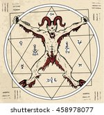 magic circle with devil or... | Shutterstock .eps vector #458978077