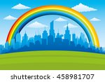 beautiful rainbow in the blue... | Shutterstock .eps vector #458981707