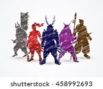 samurai warrior pose designed... | Shutterstock .eps vector #458992693