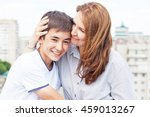 portrait of a mother with her... | Shutterstock . vector #459013267