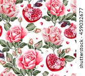 watercolor pattern with rose... | Shutterstock . vector #459032677