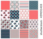 big set of  sixteen marine... | Shutterstock .eps vector #459051433