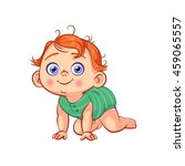 cute crawling little baby boy.... | Shutterstock .eps vector #459065557