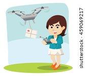 businesswoman using drone for... | Shutterstock .eps vector #459069217