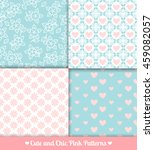 pink and blue seamless patterns ... | Shutterstock .eps vector #459082057