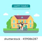 happy family in the yard of... | Shutterstock .eps vector #459086287
