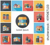building and store icons set | Shutterstock .eps vector #459087133
