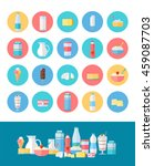 milk production vector icons... | Shutterstock .eps vector #459087703