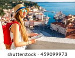young female traveler with red... | Shutterstock . vector #459099973