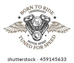 motorcycle engine and wings in... | Shutterstock . vector #459145633