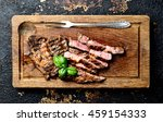juicy grilled steaks on a... | Shutterstock . vector #459154333