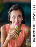 portrait of smiling woman... | Shutterstock . vector #459244363