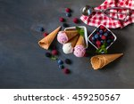 top view of ice cream in waffle ... | Shutterstock . vector #459250567