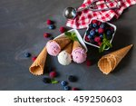 top view of ice cream in waffle ... | Shutterstock . vector #459250603