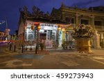 Small photo of George Town, Penang - March 24, 2016: Dusk view of the Choo Chay Keong Temple adjoined to Yap Kongsi clan house, Armenian Street, George Town, Penang, Malaysia on March 24, 2016.