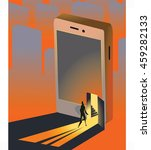 vector poster person enters the ... | Shutterstock .eps vector #459282133