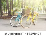 two yellow and turqoise city... | Shutterstock . vector #459298477