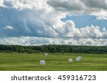 wrapped round white hay bales... | Shutterstock . vector #459316723