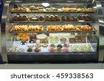 cakes in showcase. italian...   Shutterstock . vector #459338563